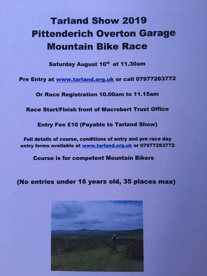 Tarland Show MTB and hill races 10th August